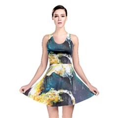 Abstract Space Nebula Reversible Skater Dresses