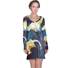 Abstract Space Nebula Long Sleeve Nightdresses