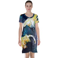 Abstract Space Nebula Short Sleeve Nightdresses