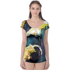 Abstract Space Nebula Short Sleeve Leotard