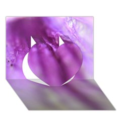 Purple Flower Pedal Heart 3D Greeting Card (7x5)