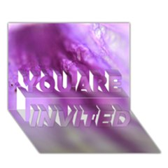 Purple Flower Pedal YOU ARE INVITED 3D Greeting Card (7x5)