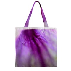 Purple Flower Pedal Zipper Grocery Tote Bags