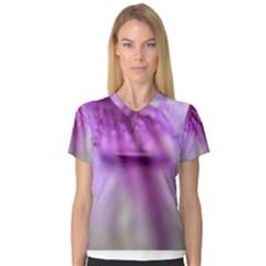 Purple Flower Pedal Women s V Neck Sport Mesh Tee