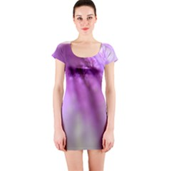 Purple Flower Pedal Short Sleeve Bodycon Dresses