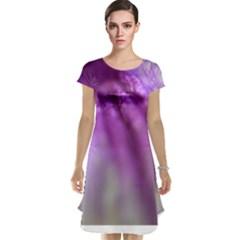 Purple Flower Pedal Cap Sleeve Nightdresses