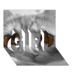 Funny Cat GIRL 3D Greeting Card (7x5)