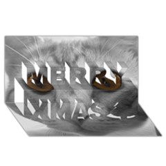 Funny Cat Merry Xmas 3D Greeting Card (8x4)