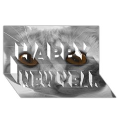 Funny Cat Happy New Year 3D Greeting Card (8x4)