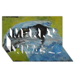 Blue Jay Merry Xmas 3D Greeting Card (8x4)
