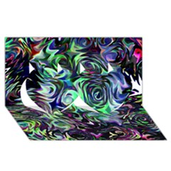 Colour Play Flowers Twin Hearts 3D Greeting Card (8x4)