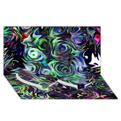 Colour Play Flowers Twin Heart Bottom 3d Greeting Card (8x4)