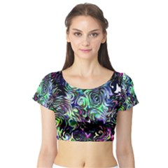 Colour Play Flowers Short Sleeve Crop Top