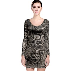 Tile Reflections Alien Skin Dark Long Sleeve Bodycon Dresses