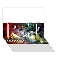Abstract Music Painting I Love You 3d Greeting Card (7x5)