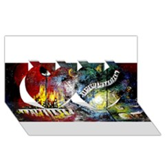 Abstract Music Painting Twin Hearts 3D Greeting Card (8x4)