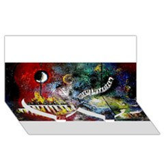 Abstract Music Painting Twin Heart Bottom 3D Greeting Card (8x4)