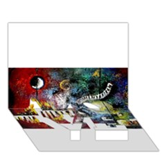 Abstract Music Painting LOVE Bottom 3D Greeting Card (7x5)