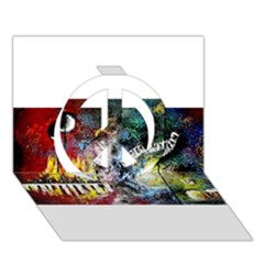 Abstract Music Painting Peace Sign 3d Greeting Card (7x5)