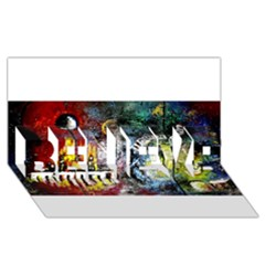 Abstract Music Painting BELIEVE 3D Greeting Card (8x4)