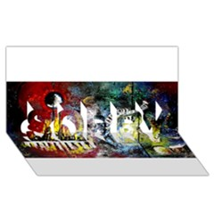 Abstract Music Painting SORRY 3D Greeting Card (8x4)