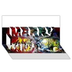 Abstract Music Painting Merry Xmas 3D Greeting Card (8x4)