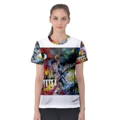 Abstract Music Painting Women s Sport Mesh Tees
