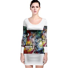 Abstract Music Painting Long Sleeve Bodycon Dresses