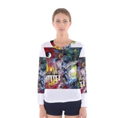 Abstract Music Painting Women s Long Sleeve T Shirts