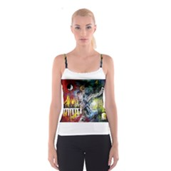 Abstract Music Painting Spaghetti Strap Tops