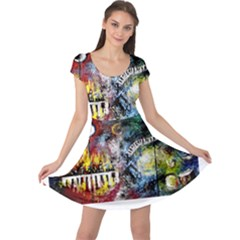 Abstract Music Painting Cap Sleeve Dresses