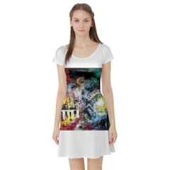 Abstract Music Painting Short Sleeve Skater Dresses