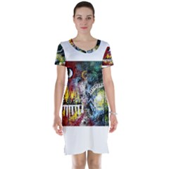 Abstract Music Painting Short Sleeve Nightdresses