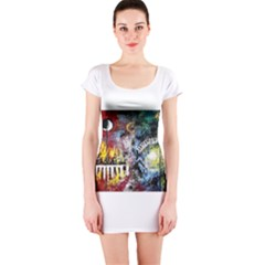 Abstract Music Painting Short Sleeve Bodycon Dresses