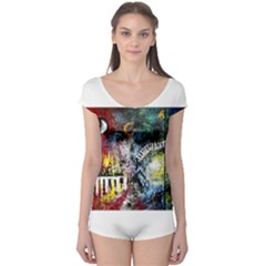 Abstract Music Painting Short Sleeve Leotard