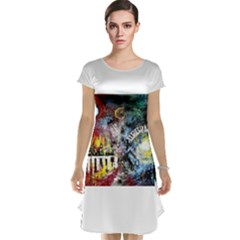 Abstract Music Painting Cap Sleeve Nightdresses