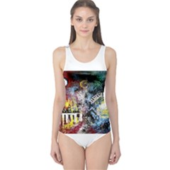Abstract Music Painting Women s One Piece Swimsuits