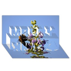 Bumble Bee 1 Merry Xmas 3D Greeting Card (8x4)