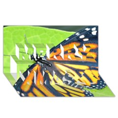 Butterfly 2 Merry Xmas 3d Greeting Card (8x4)