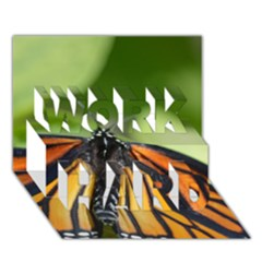 Butterfly 3 WORK HARD 3D Greeting Card (7x5)