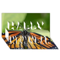 Butterfly 3 Happy New Year 3D Greeting Card (8x4)
