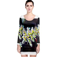 Digitally Enhanced Flower Long Sleeve Bodycon Dresses