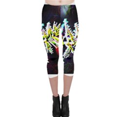 Digitally Enhanced Flower Capri Leggings