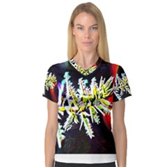 Digitally Enhanced Flower Women s V-Neck Sport Mesh Tee