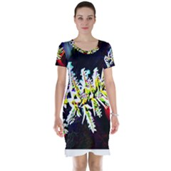Digitally Enhanced Flower Short Sleeve Nightdresses