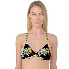 Digitally Enhanced Flower Reversible Tri Bikini Tops