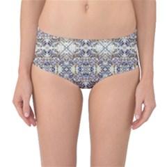Oriental Geometric Floral Mid-Waist Bikini Bottoms