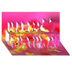Bright Pink Hibiscus Happy Birthday 3D Greeting Card (8x4)