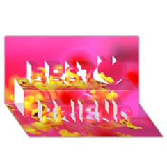 Bright Pink Hibiscus Best Friends 3d Greeting Card (8x4)