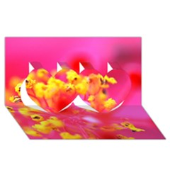 Bright Pink Hibiscus Twin Hearts 3d Greeting Card (8x4)
